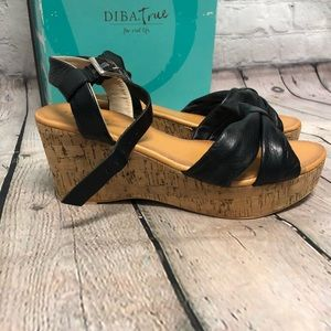 Diba Leather Wedge Sandals size 7